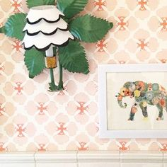 Love this happy wall by @katecollinsinteriors using @galbraithandpaul wallpaper.  #philadelphiastyle #phillytalent #phillyfriends #wallpaper #happy #elephant #pinkandgreen #printed