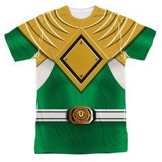 Power Rangers - Green Ranger Costume Junior All Over Print Poly T-Shirt Mens Tee Shirts, Diy Shirt, Green Ranger Costume, Power Rangers Shirt, Sublime Shirt, Mighty Morphin Power Rangers, Programming For Kids, Branded T Shirts, Children's Program