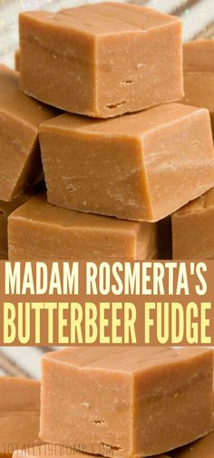 Madam Rosmerta's Butterbeer Fudge recipe courtesy of Mary Malcolm. This butterbeer fudge is a delicious way to serve butterbeer to your wizard and muggle friends alike. Fudge Recipes, Candy Recipes, Sweet Recipes, Köstliche Desserts, Delicious Desserts, Dessert Recipes, Marshmallow Creme, Peanut Butter Fudge, Cooking