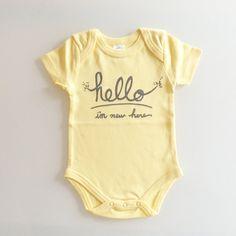 Hello I'm New Here gender neutral baby gift 03 by eggagogo