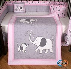 Boutique Pink Gray Elephant 13pcs Crib Bedding Sets Geenny