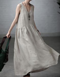 Yuanma  Women  Loose Vest  linen  Long  by clothingshow on Etsy, $64.00