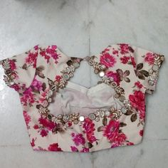 flroal embroidery blouse with mirror work