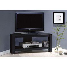 Black Wood Flat Screen TV Stand
