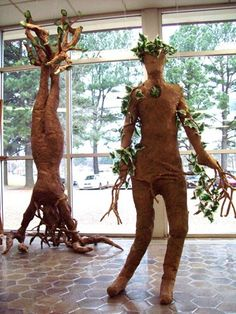 Papier Mache Tree People- forming a lesson idea using 'seeded paper to make outdoor sculptures that will grow...