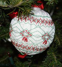 Smocked Christmas ornament
