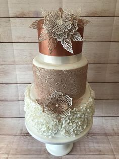Rose Gold and Lace Wedding by Alli Dockree - http://cakesdecor.com/cakes/292500-rose-gold-and-lace-wedding