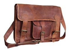 Right Choice Leather Unisex Real Leather Messenger Bag for Laptop Briefcase Satchel 15X11X4 Brown