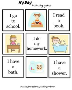 Funglish: My daily routine - memory game You are in the right place about Daily Routine quotes Here English For Beginners, English Lessons For Kids, Kids English, English Study, Learn English, English Language Learning, Teaching English, Grammar For Kids, Flashcards For Kids