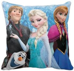 Love this Disney Frozen pillow or throw cushion from Zazzle. It features four of the most important characters, Elsa the Snow Queen, Anna, Olaf and Kristoff. Anyone want to decorate a room with Disney's Frozen?