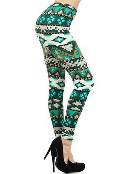 Green + Teal Aztec Leggings Aztec Leggings, Teal Green, Sweatpants, Womens Fashion, Outfits, Clothes, Rock, Dresses, Vestidos
