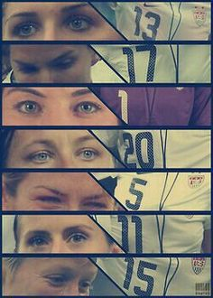 Alex Morgan, Tobin Heath, Hope Solo, Abby Wambach, Kelley O'Hara, Ali Krieger, and Megan Rapinoe