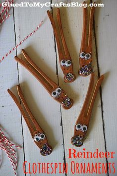 Reindeer Clothespin Ornaments {Kid Christmas Craft}   Would use red glitter and just stick antlers on the tree branch to hang.
