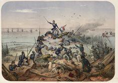 Prise de Bomarsund Le 12eme Bataillon de Chasseurs de Vincennes, escalade le rocher de granit qui couvrait la Tour principale 15 avril 1854 par Victor Adam