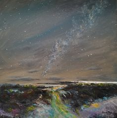 original oil painting, landscape, abstract, night sky, stars, clouds, milky way, waterfall, astronomy, wall, home, decor, canvas, dusk, art Sky Landscape, Landscape Paintings, Oil Paintings, Landscapes, Night Sky Stars, Night Skies, Night Sky Painting, Waterfall Paintings, Cactus Painting