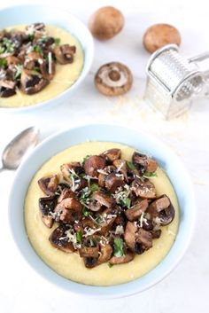 Creamy Polenta with Roasted Mushrooms from twopeasandtheirpod.com Love this easy and comforting meal!