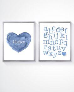 Boy Nursery, Toddler Room Decor, Alphabet Print, Set of 2 - 8x10 Prints, ABC Nursery, Blue Alphabet, Blue Nursery Art, abc's, Playroom Art by OutsideInArtStudio on Etsy https://www.etsy.com/listing/237423997/boy-nursery-toddler-room-decor-alphabet