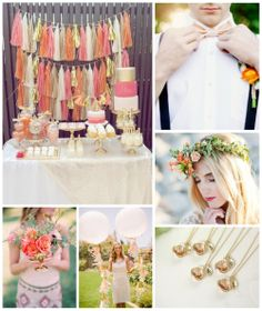 A peach, orange, gold and ivory color palette is lovely for a summer wedding