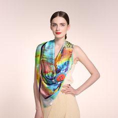 100% Silk Scarf Women, Spring Infinity Square Shawl 135*135cm, Lady Elegant Scarves, Digital Printing, Top Quality scarfs //Price: $123.99 & FREE Shipping // #womanparadise