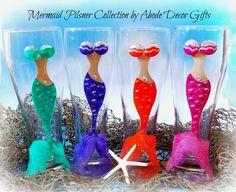 Mermaid Pilsner Glass wine glass mermaid glass by AbodeDecorGifts Mermaid Glass, Mermaid Mermaid, Different Wines, Wine Gift Baskets, Unicorns And Mermaids, Bar Gifts, Glitter Wine, Painted Wine Glasses, Wine And Beer
