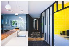 Murphy Pipe and Civil office fit-out. Jarosz Design in collaboration with Marc&Co and Baber Studio. Photography by Camera Obscura. Styling by Kasia Jarosz #officedesign #kitchendesign #yellow