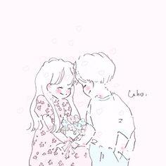 Cute Little Drawings, Cute Drawings, Kawaii Anime, Cute Chibi Couple, Manga Cute, Art Prompts, Dibujos Cute, Korean Art, Couple Art