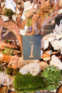 Rustic Table Number Card | Photography: Perez Photography. Read More:  http://www.insideweddings.com/weddings/incredible-tented-ceremony-barn-reception-at-ranch-in-aspen/860/