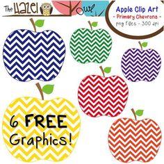 FREE Primary Chevron Apple Clip Art! 6 FREE Graphics!