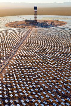 Here's a shot that shows just how many mirrors are used. It's really amazing how big this is, and how much solar energy will be concentrated into that (relatively) small tower at the center.