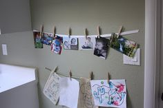 Olivia Renn: Fun Easy Way to Display Kids Art. I will probably do something like this for the boys room.