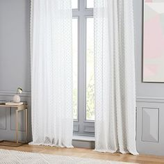 Candlewick Dot Curtain #westelm Drapes And Blinds, Room Darkening Curtains, Yellow Curtains, Linen Curtains, Bedroom Curtains, Bedroom Bed, Bedroom Furniture, Master Bedroom, Glass Curtain