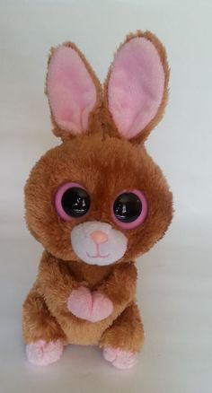 Ty Beanie Boos Hopson Retired 9in Brown Bunny Rabbit Easter Pink Eyes #Ty