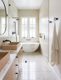 Bathroom Interior Design, Home Interior, Zen Bathroom Design, Terrazzo Tile, Bathroom Renos, Wet Room Bathroom, Spa Like Bathroom, Small Bathroom With Tub, New Bathroom Ideas