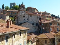 Campiglia Marittima in Maremma Tuscany Italy: view from one of the town's tiny secret rooftop terraces.