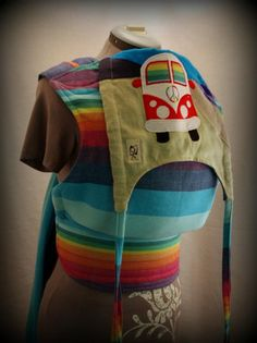 Custom ObiMama with Girasol Double Rainbow for @PAXbaby Jillian Davidsson!  OMG the most beautiful carrier ever!! with my bro's bus too AHH ;-)