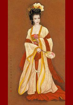 """""""Four Beauties"""" by Feng Changjiang  -Xi Shi sinks fish  Wang Zhaojun entice birds falling  Diaochan eclipses the moon  Yang Guifei shames flowers- china"""
