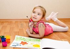 Little Girl Drawing With Paint At Home Stock Photo, Picture And Royalty Free Image. Image 18394735.