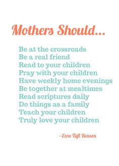 Jengerbread Creations: Mothers by President Ezra Taft Benson