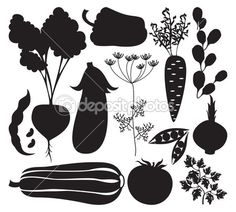 Vector set of artistic vegetables silhouettes