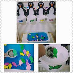 Bu sayfada değerli annemiz Zehra ŞEN'in baldan tatlı oğlu için hazırladığı penguenler ile balık avıetkinliği bulunmaktadır. Bu harika etkinlikleri bizimle paylaştığı için kendisine çok teşekkür ederiz.Emeğinize ellerinize sağlık.  Malzemeler;  Süzgeç Siyah,beyaz,turuncu renklerde fon kağıdı Renkli eva Plastik minik kaplar Mavi gıda boyası  Yapımı;Mavi gıda boyası kullanılarak su renklendirilir ve içerisine evadan hazırlanan renkli balıklar yerleştirilir.Renkli fon kağıtlarından hazırlanan…