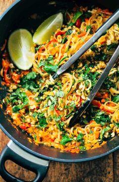 Low FODMAP Recipe and Gluten Free Recipe - Vegetable pad Thai    http://www.ibs-health.com/low_fodmap_vegetable_pad_thai.html