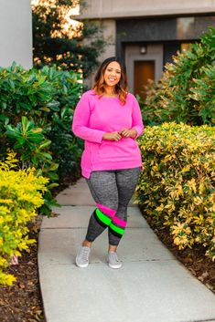One LIVI Active Top Styled Three Ways   Estrella Fashion Report Third Way, Grey Leggings, Plus Size Activewear, Pink Tops, Lane Bryant, French Terry, Color Pop, Outfit Of The Day, Active Wear