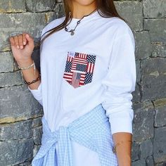 Double tap if you're a pearl + pocket tee kinda girl { FREE SHIPPING today // no code needed }  #FraternityCollection #Betsy #PocketTee