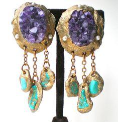 Amethyst Crystal Quartz Earrings- Raw Mineral Earrings Rough Cut Stones w. Amethyst Crystal, Crystal Earrings, Amethyst Earrings, Turquoise Jewelry, Wearable Art, Vintage Jewelry, Western Jewelry, Vintage Earrings, Jewelry Design