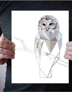 Woodland owl print, Owl art, Barred owl, Owl wall print, Owl wall decal, Owl wall art print, Minimalist owl print art, Gray, Owl nursery B49 by villavera on Etsy https://www.etsy.com/nz/listing/526002637/woodland-owl-print-owl-art-barred-owl