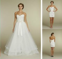 Convenient Two in One Wedding Dress Lace Sweetheart Tulle Removable Skirt Bridal Gowns with Ribbon Bow - Alternative Measures -  - 1