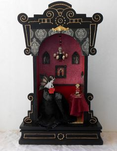 Clock Case shadow box - Vampire Flapper's Boudoir by Nacreous Alchemy