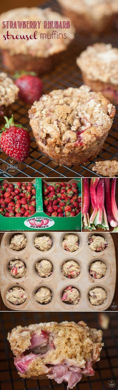 Strawberry Rhubarb Streusel Muffins are made with fresh strawberries ...