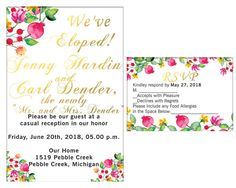 Items similar to We Eloped Invitations & Announcements, Invitation and RSVP, Elopement Invitation We Eloped, Just Married Digital on Etsy Elopement Party, Allergies, Rsvp, Party Invitations, Reception, Handmade Gifts, Awesome, Etsy, Handcrafted Gifts