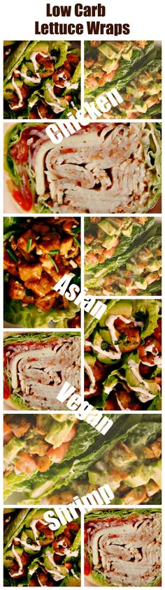 Low Carb Lettuce Wraps: Chicken Taco, Shrimp, Asian and Vegan – Weight Loss Plans: Keto No Carb Low Carb Gluten-free Weightloss Desserts Snacks Smoothies Breakfast Dinner… Wrap Recipes For Lunch, Lettuce Wrap Recipes, Lunch Ideas, Vegan Lettuce Wraps, Chicken Lettuce Wraps, Low Carb Wraps, Healthy Wraps, Gluten Free Weight Loss, Gluten Free Wraps